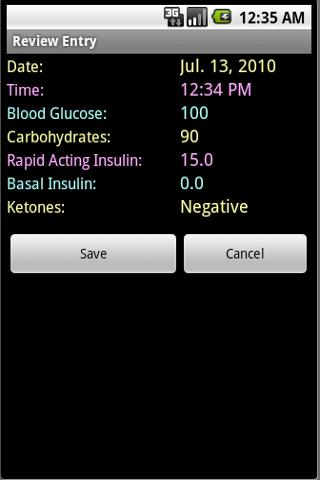 Diabetes Log- screenshot