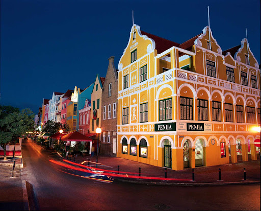 Curacao-Handelskade-evening - The Handelskade area of Willemstad, Curacao, is especially striking at night.