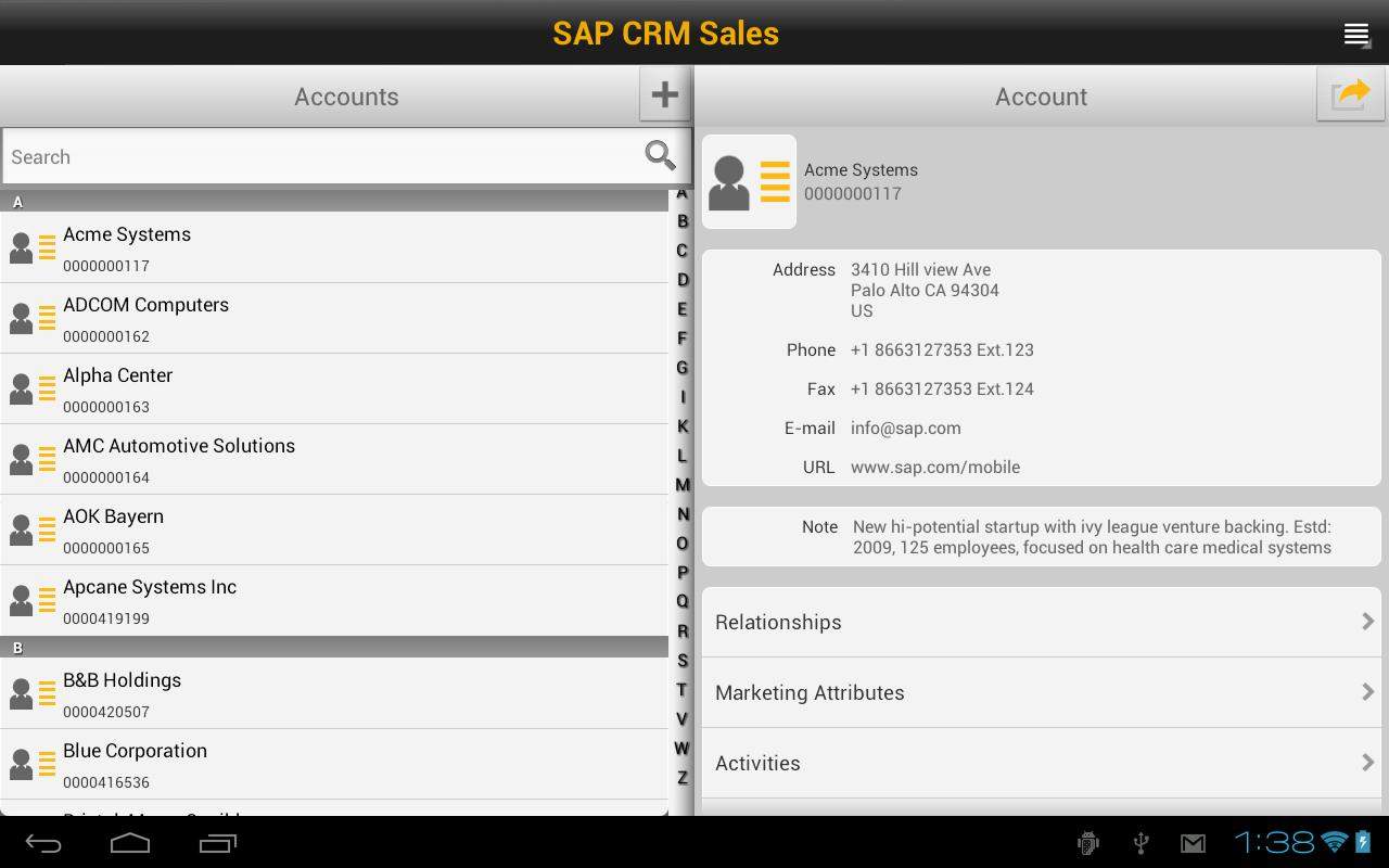 SAP CRM Sales - screenshot