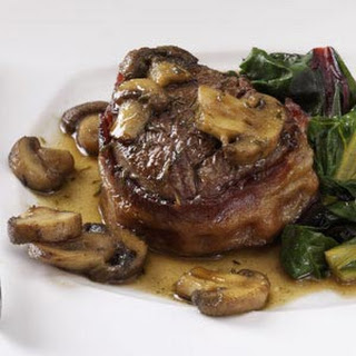 Bacon-Wrapped Filets with Scotched Mushrooms.