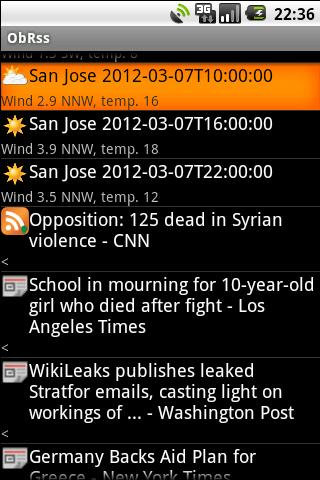 ObRss: news and weather- screenshot