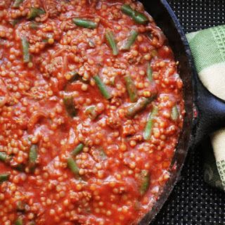 Skillet Ground Lamb with Tomato Sauce, Green Beans, and Couscous