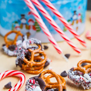 Peppermint Chocolate Coated Pretzels.