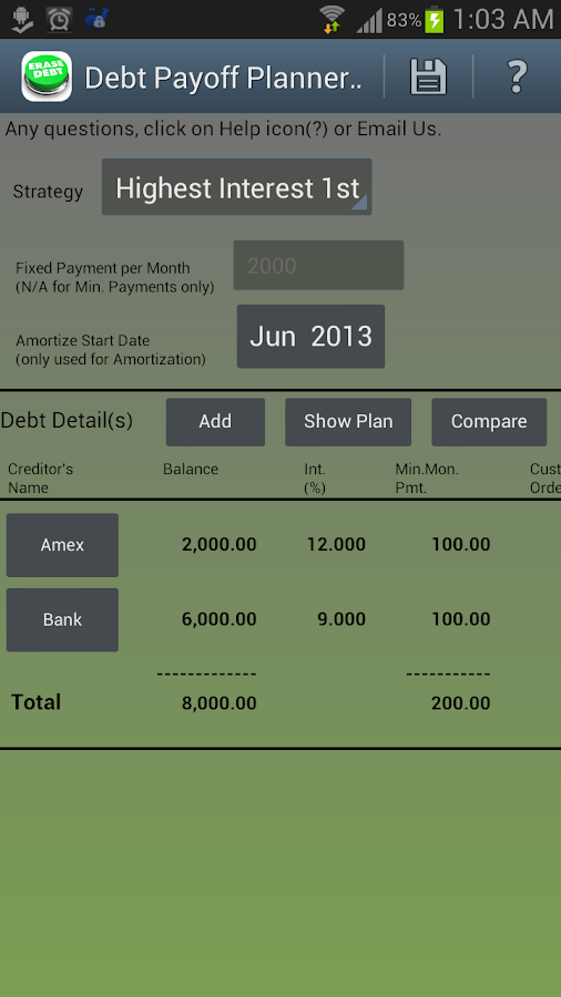 Debt Payoff Lite - screenshot