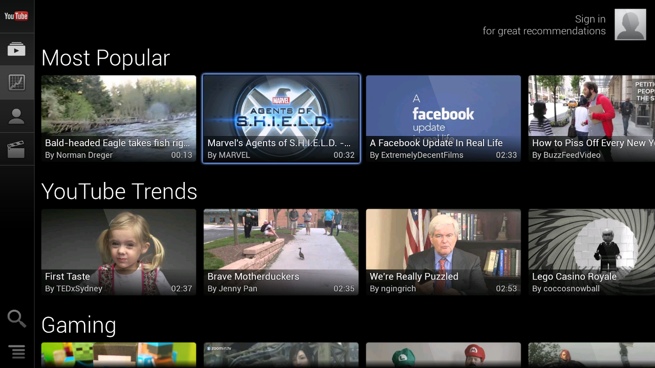 YouTube for TV - screenshot