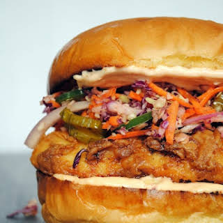 Fried Chicken Sandwiches with Pickle Coleslaw.