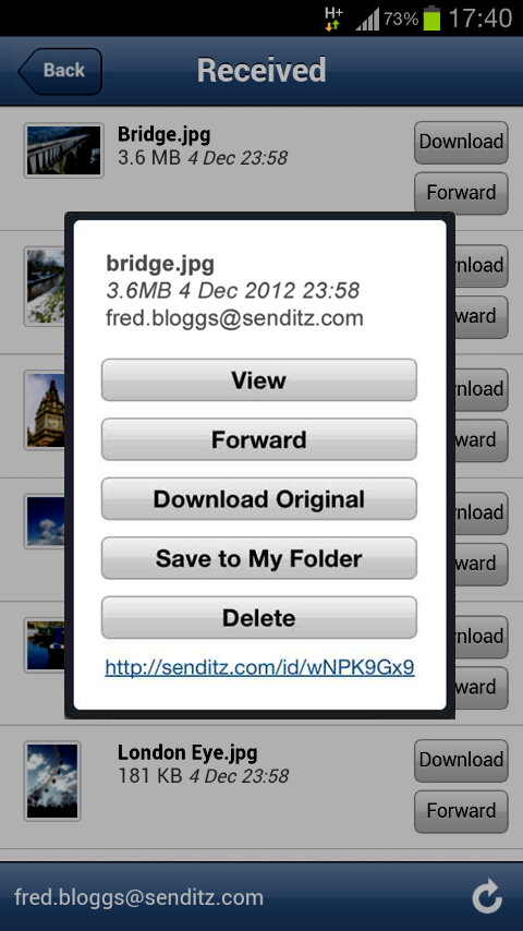SendItz - Send & Share Files - screenshot
