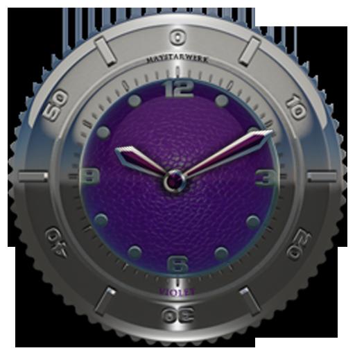 Clock Widget Purple Elephant