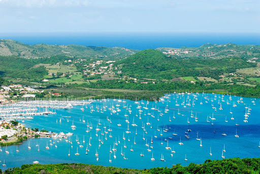 Martinique's Le Marin became the largest marina in the Caribbean because of its prime location. It's protected by Borgnesse Pointe and Pointe Marin Bay.