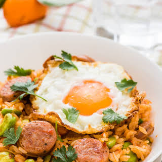 Tomato Fried Rice with Sausage.