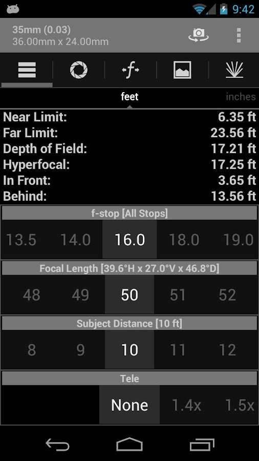 DOF and Hyperfocal Calculator – Capture d'écran