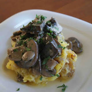 Roasted Spaghetti Squash with Herb Mushroom Sauce.