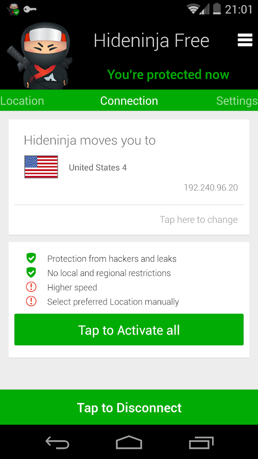 Hideninja VPN - screenshot