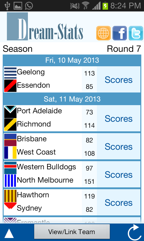 Dream-Stats Live AFL Scores - screenshot