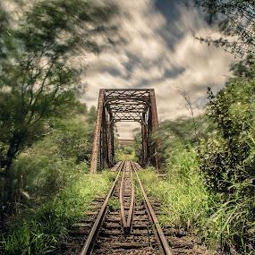 ... by Matheus Dalmazzo - Transportation Railway Tracks ( exposure, clouds, railway, long exposure, bridge, long )