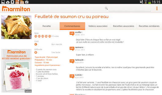 Marmiton Tablette : recettes- screenshot thumbnail