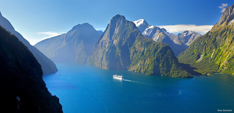 Milford Sound was dubbed the Eighth Wonder of the World by Rudyard Kipling. Skimming along sheer rock walls as tall as 4,900 feet, some waterfalls begin so high up they never reach the sea.