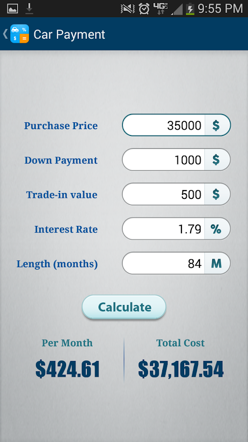 Car Loan Calculator App Android
