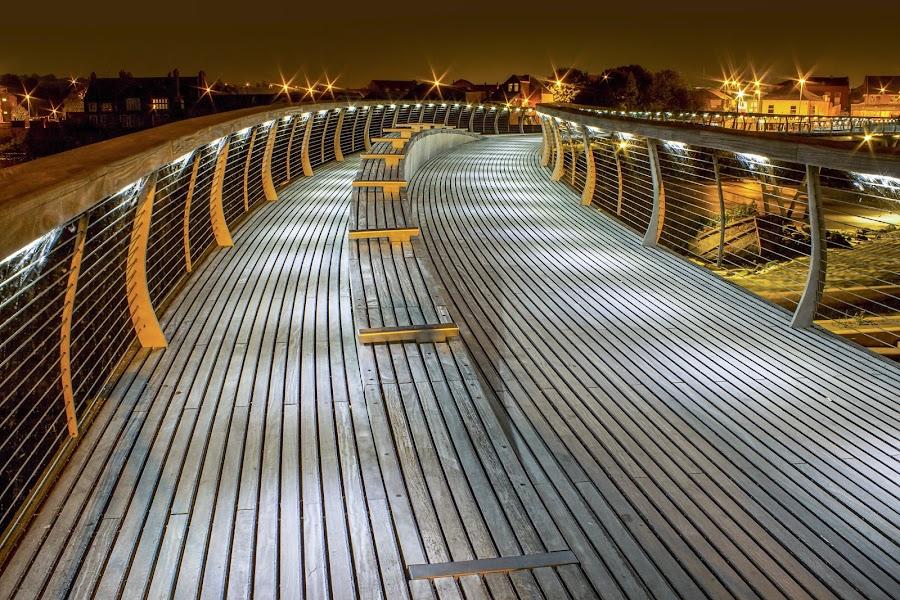 Castleford Footbridge Walkway  by Roland Rodgerson - City,  Street & Park  Night ( lights, footbridge, castleford, night, long exposure, bridge,  )