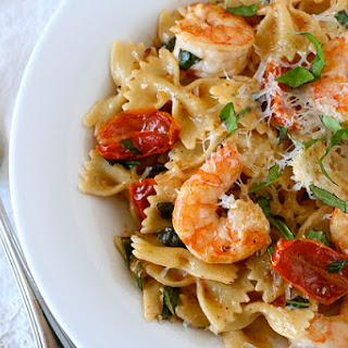 Shrimp Pasta with Oven-Dried Tomatoes.