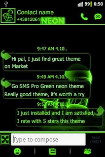Green neon theme GO SMS Pro - screenshot thumbnail