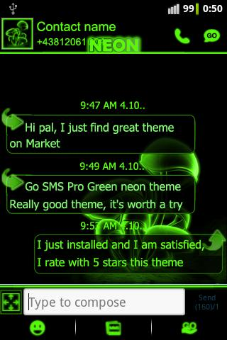 Green neon theme GO SMS Pro - screenshot