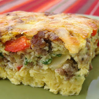Baked Swiss and Sausage Omelet