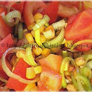 Tomato, Corn and Leek Salad.