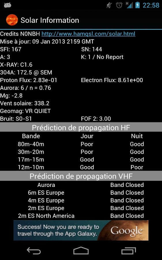 Solar data & HF propagation - screenshot