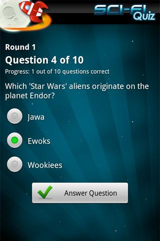 FreePlay Sci-Fi Quiz - screenshot