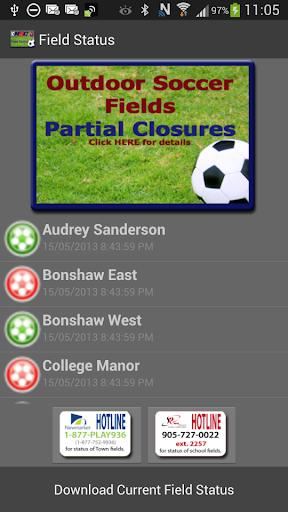 Newmarket Soccer Field Status