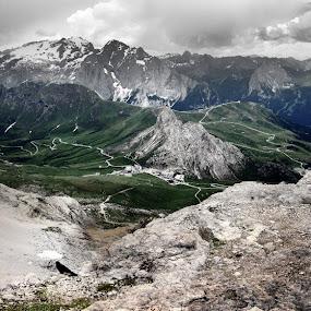 Marmolada glacier and Pordoi pass by Matevz Skerget - Landscapes Mountains & Hills ( dolomite, glacier, marmolada, pordoi, pass )