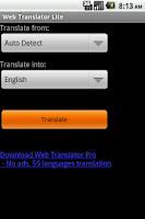 Screenshot of Web Translator Lite