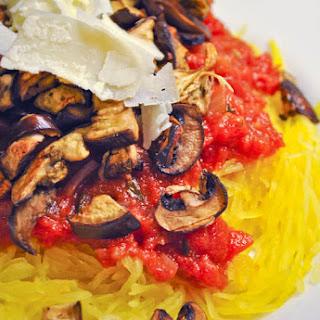 Spaghetti Squash with Roasted Eggplant, Mushrooms & Marinara.