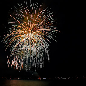 Shower of Colors by Kimberly Davidson - Public Holidays July 4th ( lake st. clare, st clare mi., fireworks, 4th of july, landscape, nightscape,  )