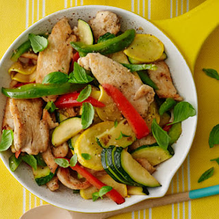 Chicken and Pepper Stir-Fry with Basil