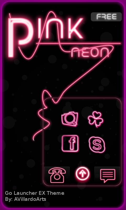 Neon Pink Free Go EX Theme - screenshot