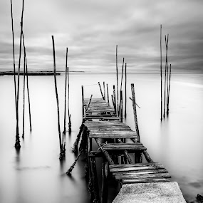 Smooth by Ricardo  Guimaraes - Black & White Landscapes ( water, time, old, smooth, waterscape, black and white, pier, long exposure, portugal, landscapes, river,  )