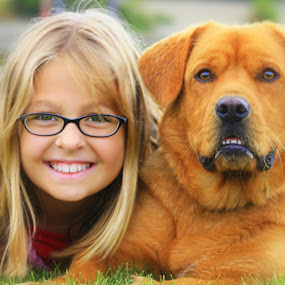 Two cuties with grins to match by Debbie Sodeman-Roelle - Animals - Dogs Portraits ( canine, animals, park, kids, smile, dog,  )