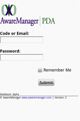 AwareManager PDA- screenshot
