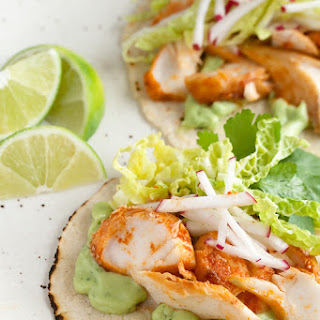 Spicy Fish Tacos with Avocado-Yogurt Sauce.