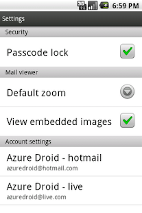 Azure Hotmail - screenshot thumbnail