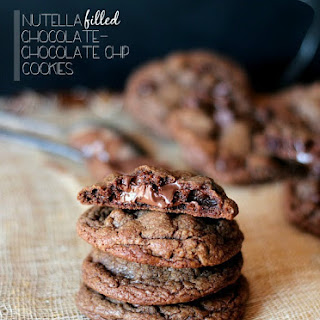 Nutella Filled Chocolate Chocolate Chip Cookies
