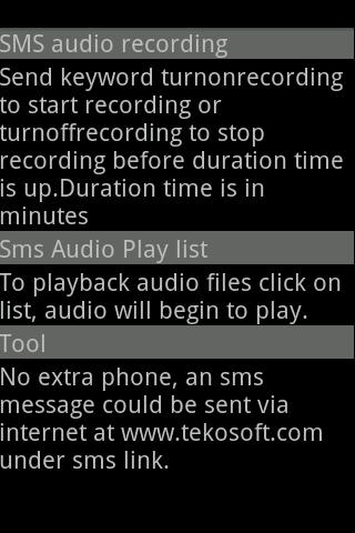 SMS Audio Recorder Spy- screenshot