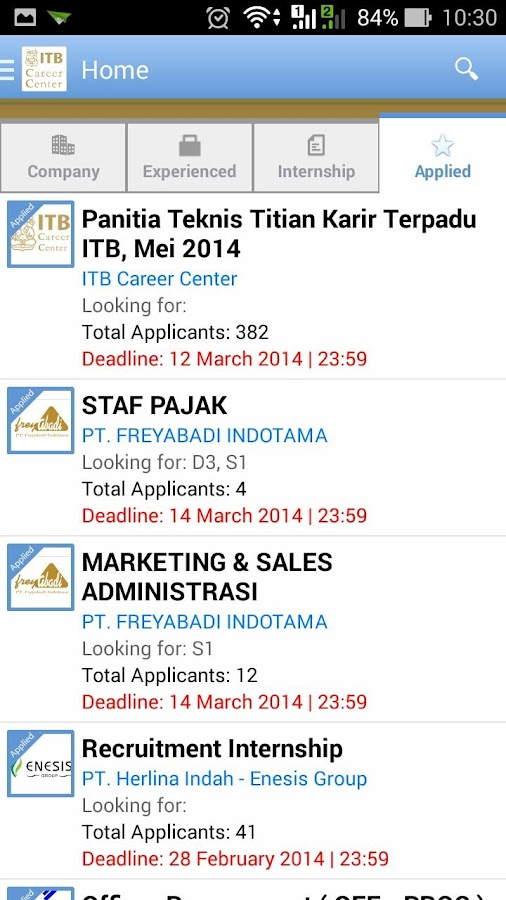 ITB Career Center- screenshot