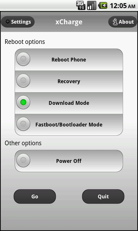 xCharge reboot options - screenshot