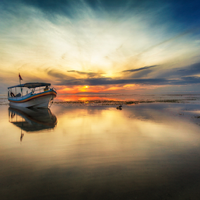 Morning Boat by Rio Tanusudiro - Transportation Boats ( sky, waterscape, seascape, sunrise, beach, boat, morning, light, sun )