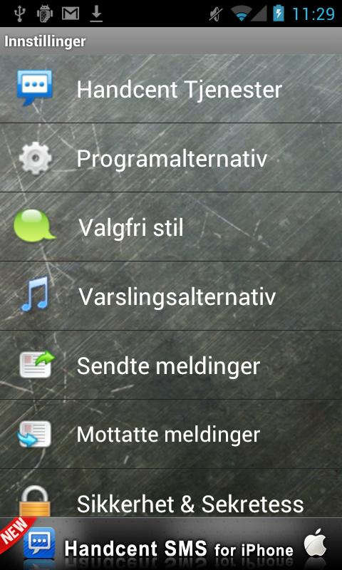 Handcent SMS Norwegian Languag- screenshot