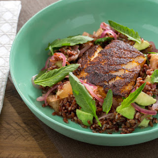 Chile-Blackened Cod with Epazote, Avocado & Red Rice Salad.