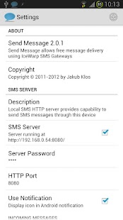 Send Message + SMS Server - screenshot thumbnail